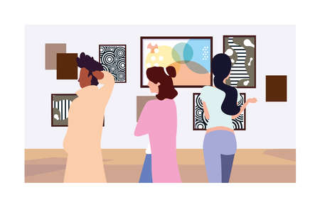 group of people in contemporary art gallery, exhibition visitors viewing modern abstract paintings vector illustration design Stock Illustratie