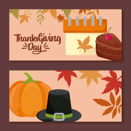 cards with label thanksgiving day and food vector illustration design