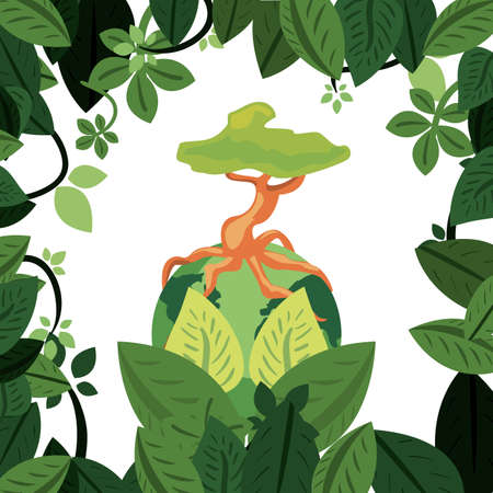 world tree root border leaves earth day vector illustration