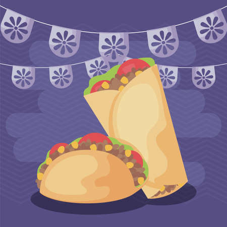 viva mexico celebration with food traditional vector illustration design Vector Illustration