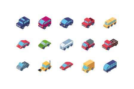 Isometric cars icon set design, Transportation vehicle transport wheel speed traffic road and travel theme Vector illustration