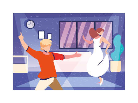 couple of people dancing in home , party, music and nightlife vector illustration design