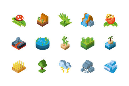 Isometric icon set design, Nature element earth eco ecology conservation bio environment and outdoor theme Vector illustration