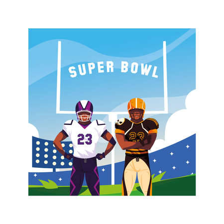 men players american football with label super bowl vector illustration design