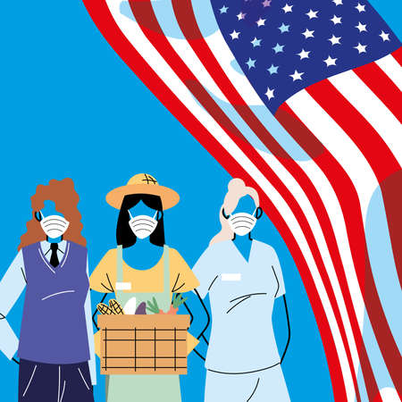 Frontline workers wearing face masks standing with American flag vector illustration design