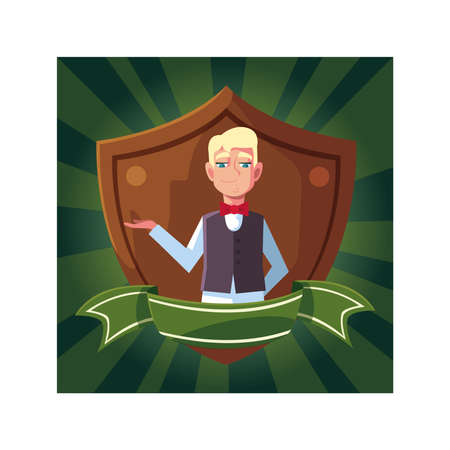 man waiter with uniform in shield with ribbon vector illustration design