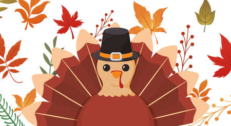 Turkey and leaves of thanksgiving day design, Autumn season holiday greeting and traditional theme Vector illustration Stock Photo