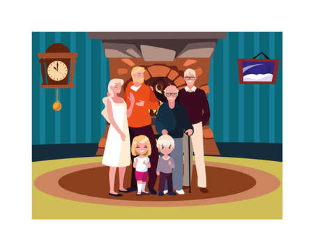 big family together in living room, three generations vector illustration design