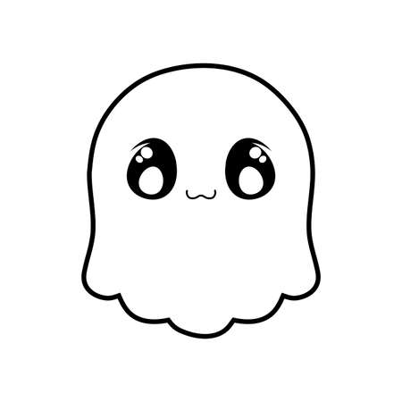 funny halloween ghost on white background vector illustration design