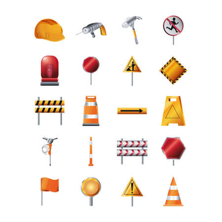 Icon set design of Construction working maintenance workshop repairing progress labor and industrial theme Vector illustration Vektoros illusztráció