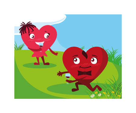 two happy hearts , card valentines day vector illustration design