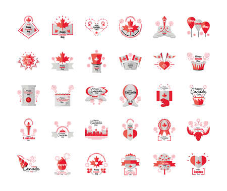 set of icons Canada day, national holiday vector illustration design