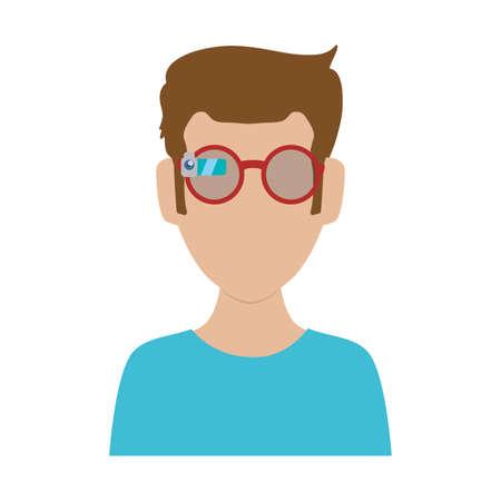 men whit glasses vector illustration