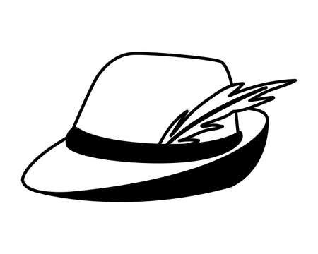 silhouette of german hunting hat with feather on white background vector illustration design Illusztráció