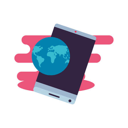 smartphone with world planet travel app vector illustration design