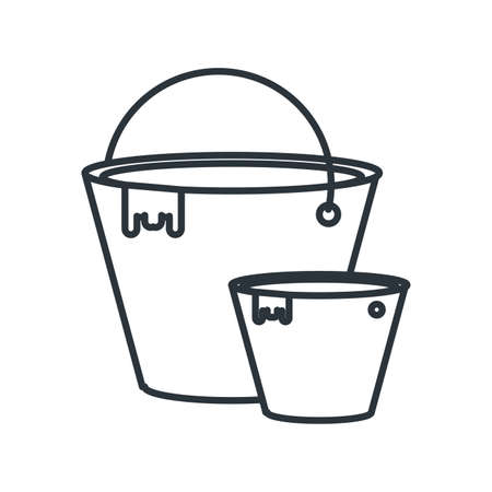 Bucket tool design, under construction work repair progress reconstruction industry and build theme Vector illustration