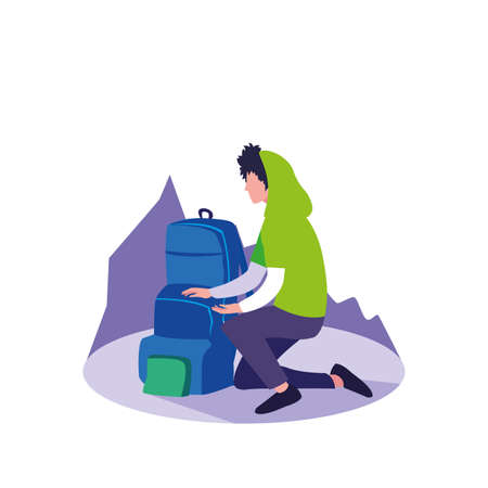 young man sitting with travelbag vector illustration design