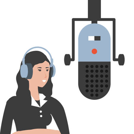 cute young woman with earphones and microphone vector illustration design