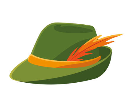 German hunting hat with feather on white background vector illustration design