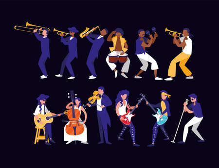 Musicians with instruments design, Music festival sound melody song musical art and composition theme Vector illustration