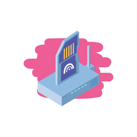 wireless router with micro sd card vector illustration design