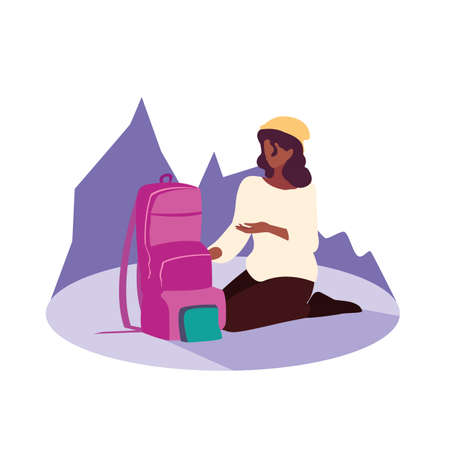 young woman sitting with travelbag vector illustration design