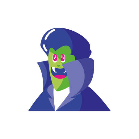 head of vampire with fangs in white background vector illustration design