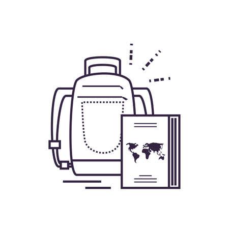 passport document travel with travelbag vector illustration design