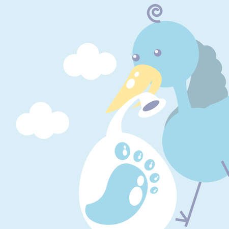 cute stork with diaper and footprint baby vector illustration design