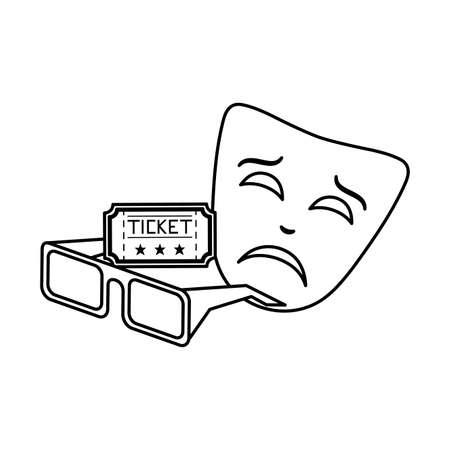 mask theater with glasses 3d and ticket vector illustration design Illusztráció