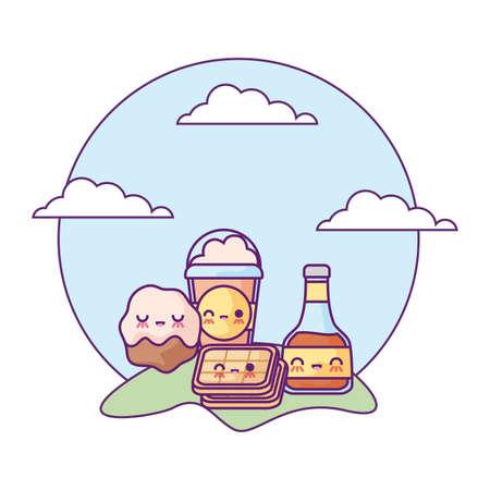 bottle of honey with set food in landscape kawaii style vector illustration design Illustration