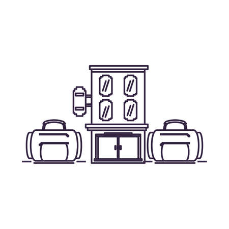 hotel building place with suitcases vector illustration design  イラスト・ベクター素材