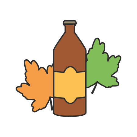 bottle beer and leaf oktoberfest festival icon vector illustration design