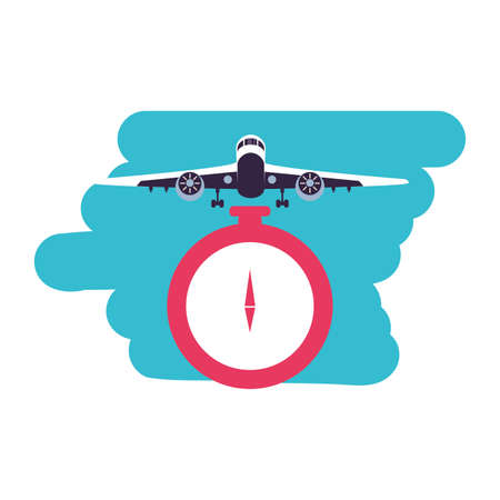 compass guide device with airplane flying vector illustration design