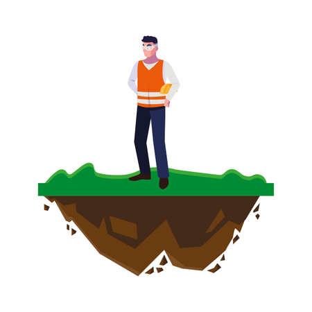 male builder constructor worker on the lawn vector illustration design Ilustración de vector
