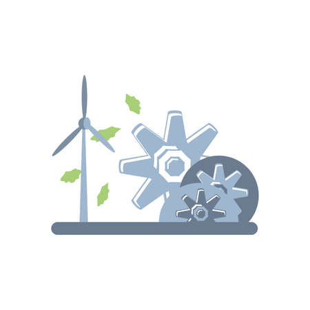 windmill air power with gears pinions vector illustration design