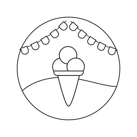 delicious ice cream in cone with garlands in frame circular vector illustration design