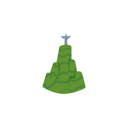 statue to jesus christ in rio de janeiro brazil on white background vector illustration design Çizim