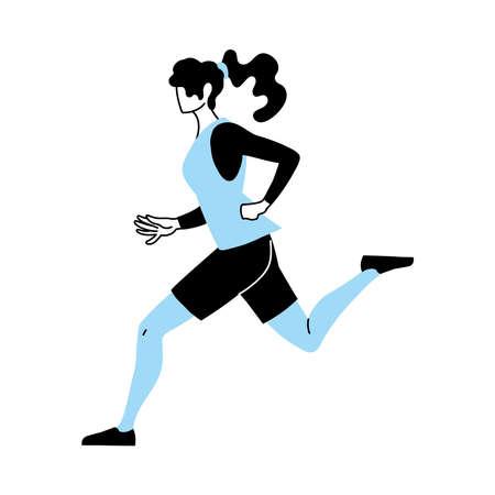 woman wearing sportswear for running vector illustration design