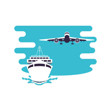 ship cruise boat travel with airplane flying vector illustration design