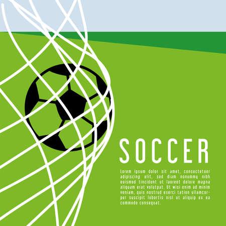 football ball in goal gates poster for soccer sport championship or tournament template vector illustration design