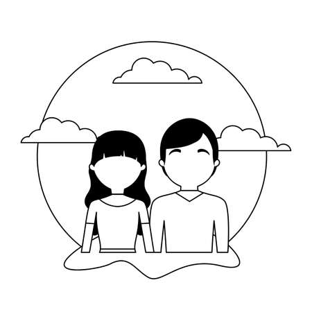 young couple with clouds avatar character vector illustration design