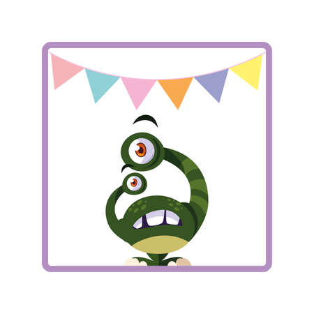 square frame of monster with bulging eyes and garlands party vector illustration