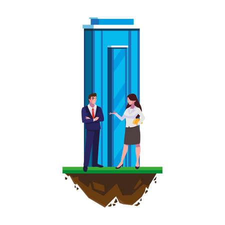 couple of engineers builders with building vector illustration design Ilustración de vector
