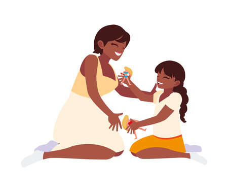 african mother and daughter playing with dolls vector illustration design