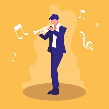 man playing trumpet musician character vector illustration design Illustration