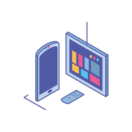 tv screen with remote control and smartphone vector illustration design