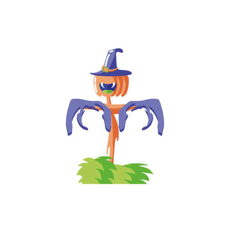 halloween pumpkin with witch hat on white background vector illustration design
