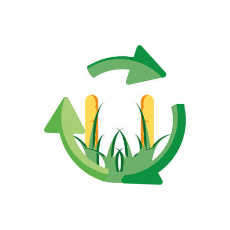 recycling arrows with field plantation corn vector illustration design