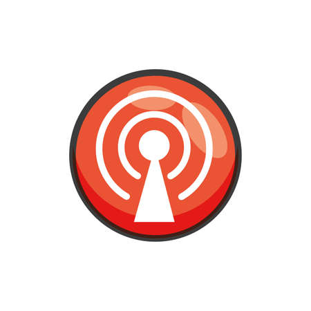 antena button with wifi connection vector illustration design